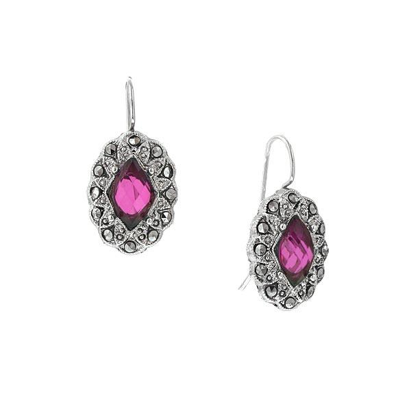 Silver-Tone Fuchsia and Simulated Marcasite Oval Drop Earrings