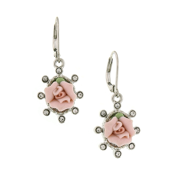 Silver-Tone Crystal and Genuine Porcelain Rose Drop Earrings