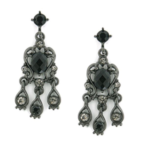 Jet-Tone Black and Black Diamond Crystal Chandelier Earrings