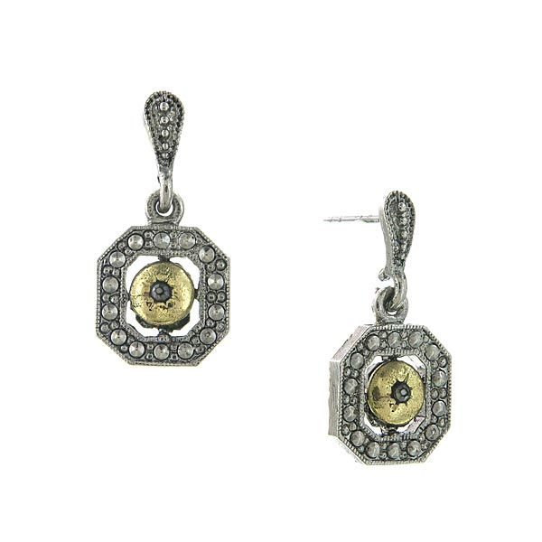 Silver-Tone and Gold-Tone Grey Crystal Octagon Drop Earrings