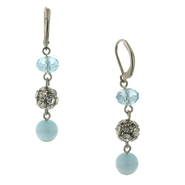 Silver-Tone Blue Cat's Eye Beaded Linear Drop Earrings