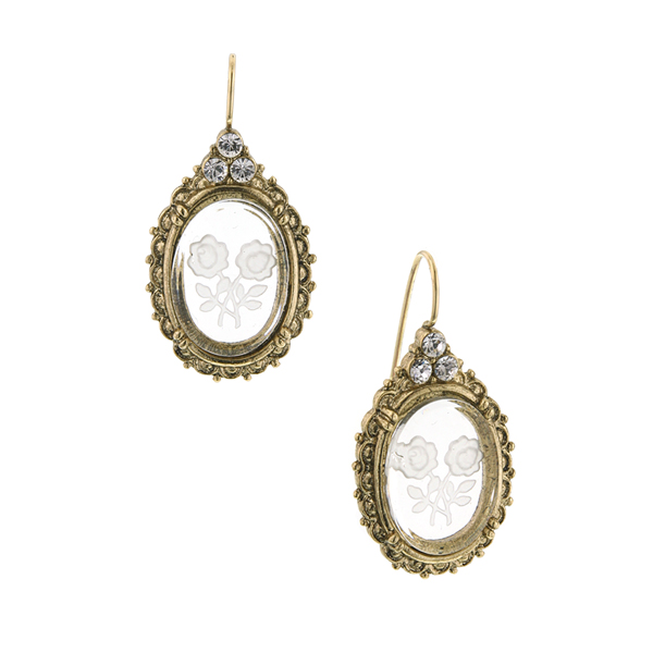 Gold-Tone Oval Intaglio Drop Earrings
