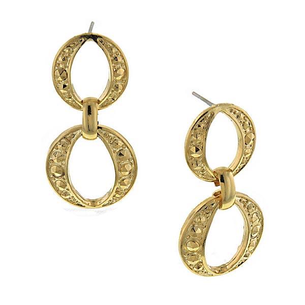 Signature Gold-Tone Circle Drop Earrings