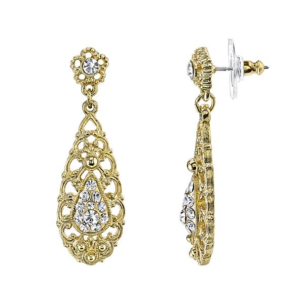 2028 Golden Glitz Gold-Tone Crystal Filigree Drop Earrings