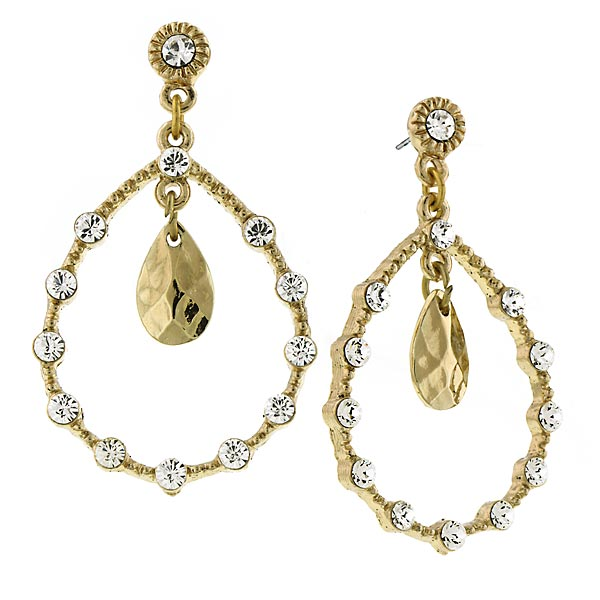 2028 Golden Glitz Gold-Tone Crystal Teardrop Earrings