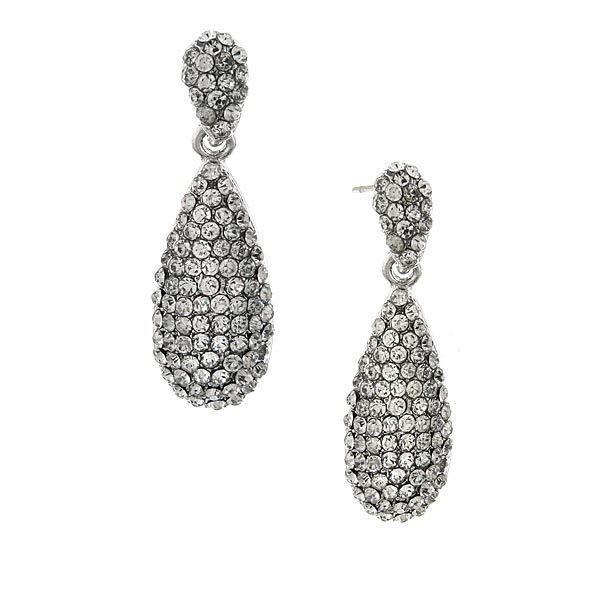 2028 Silver-Tone Crystal Pavé Teardrop Earrings