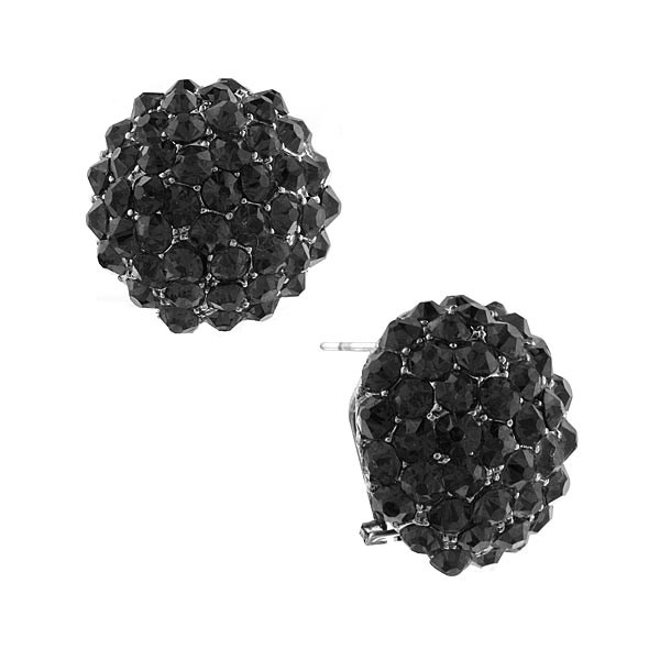 2028 Silver-Tone Hematite Crystal Pavé Button Earrings