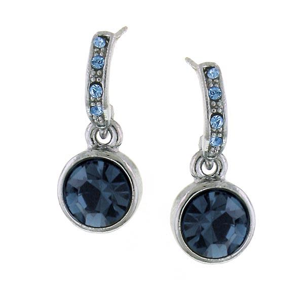 2028 Hematite-Tone Dark Blue Crystal Drop Earrings