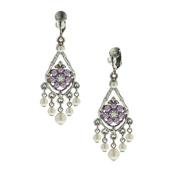 Amethyst Bridal Chandelier Clip Earrings