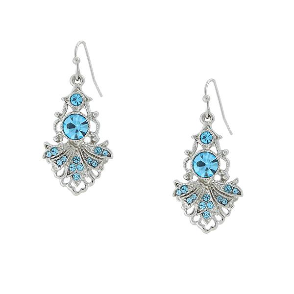 Cyprus Silver-Tone Aqua Blue Drop Earrings