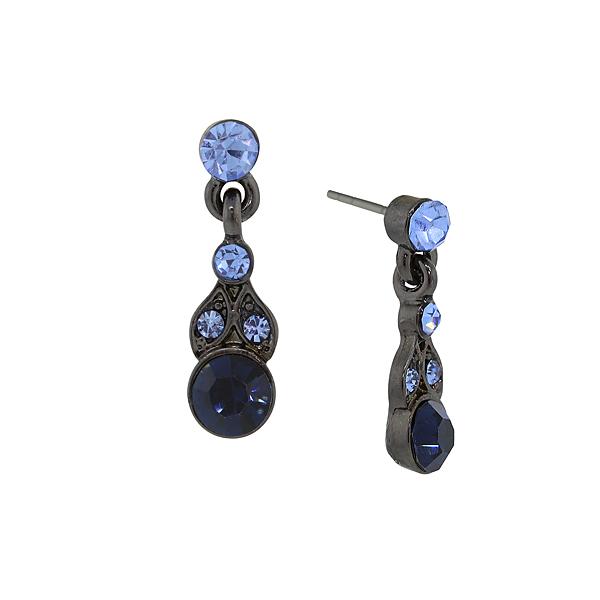 Jet-Tone Blue Drop Earrings