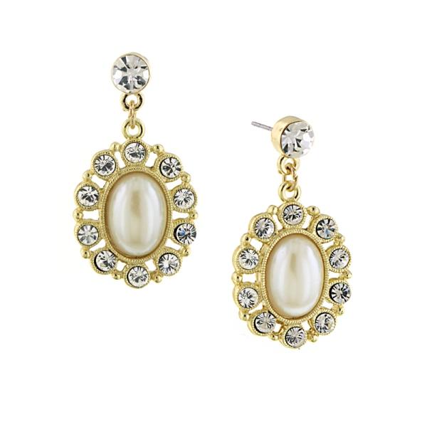 Signature Gold-Tone Imitation Pearl Oval Drop Earrings