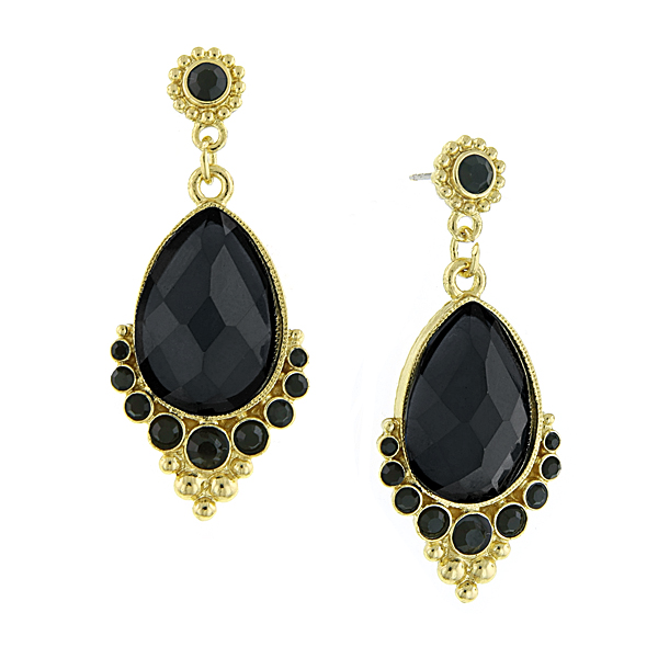Evening Lily Black Crystal Drop Earrings