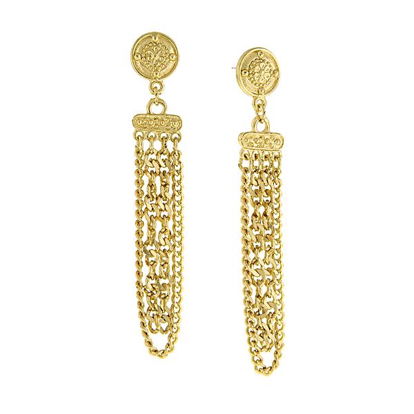 Signature Gold-Tone Chain Drop Earrings