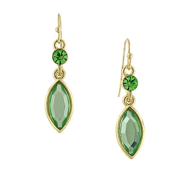 Confetti Gold-Tone Green Navette Drop Earrings