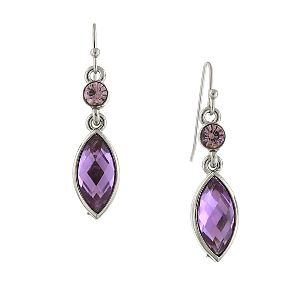Confetti Amethyst Purple Navette Drop Earrings