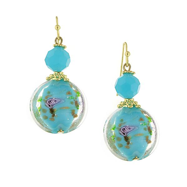 Confetti Retro Gold-Tone Aqua Blue Bead Drop Earrings