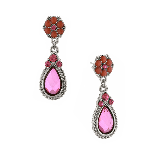 2028 Sangria Silver-Tone Purple and Orange Teardrop Earrings
