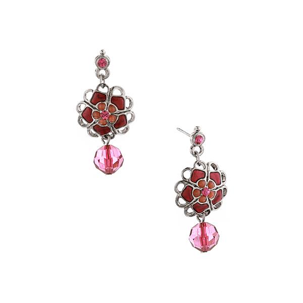 2028 Sangria Silver-Tone Purple Flower Bead Drop Earrings
