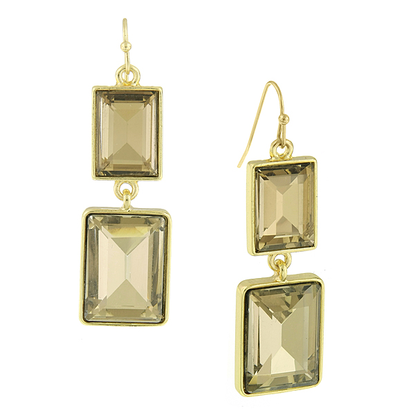 2028 Jessica Gold-Tone Brown Crystal Rectangle Drop Earrings