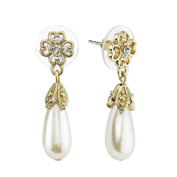 Gold-Tone Simulated Pearl Teardrop Earrings