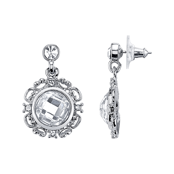 Crystal Glace Silver-Tone Crystal Round Drop Earrings