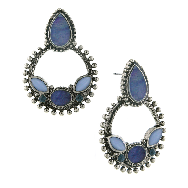 2028 Blue Note Silver-Tone Blue Moonstone Hoop Earrings