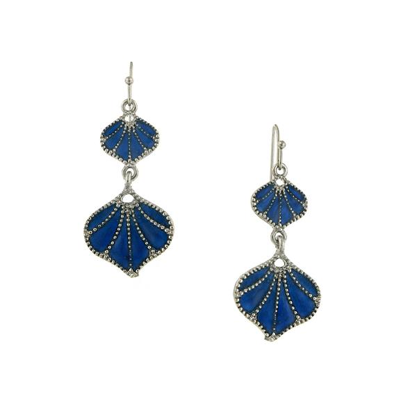 2028 Silver-Tone Blue Enamel Fan Drop Earrings