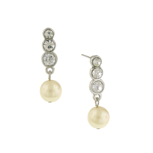 Signature Silver-Tone Crystal and Faux Pearl Drop Earrings