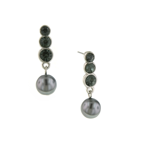 Signature Silver-Tone Crystal and Grey Faux Pearl Drop Earrings