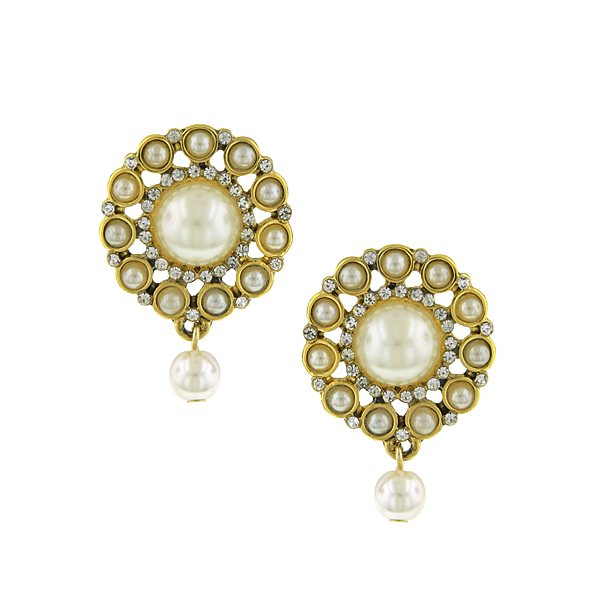 Gold-Tone Crystal and Simulated Pearl Button Earrings