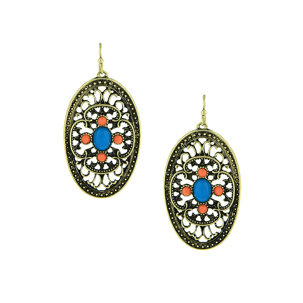 Brass-Tone Turquoise and Coral Filigree Drop Earrings