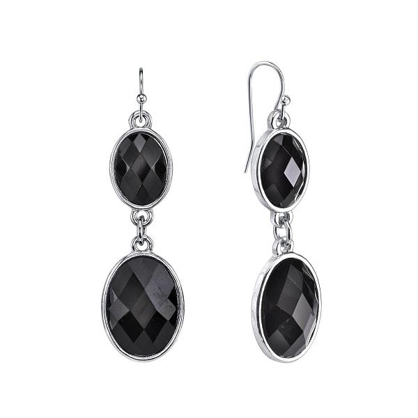 Bejeweled Ebony Oval Drop Earrings