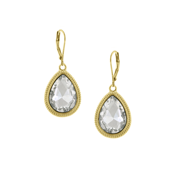 2028 Gold-Tone Faceted Pear-Shaped Drop Earrings