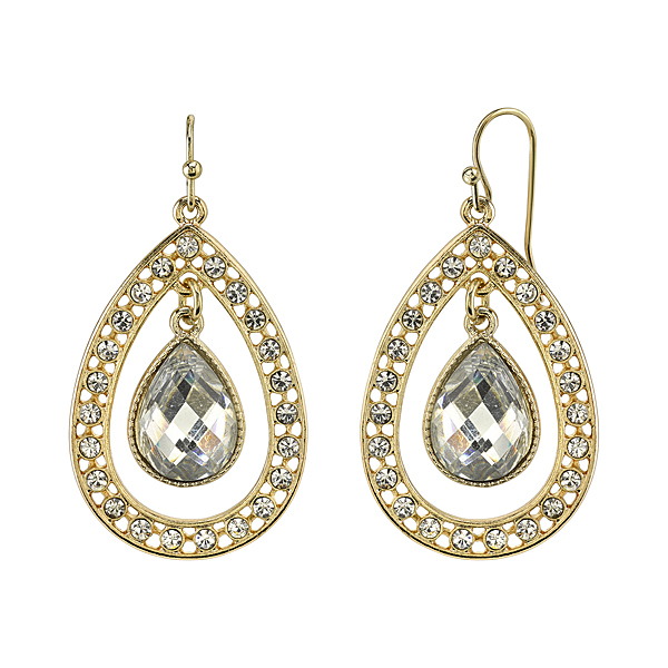 2028 Gold-Tone Crystal Suspended Pear-Shaped Drop Earrings