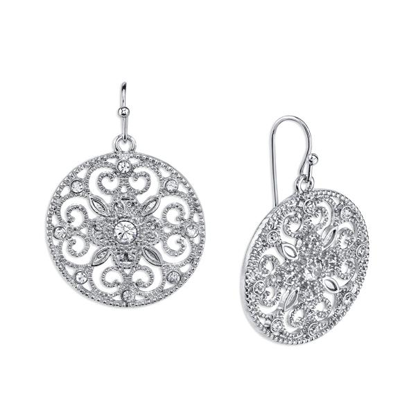 Silver-Tone Crystal Round Filigree Drop Earrings