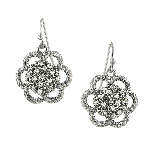2028 Silver-Tone Crystal Flower Drop Earrings