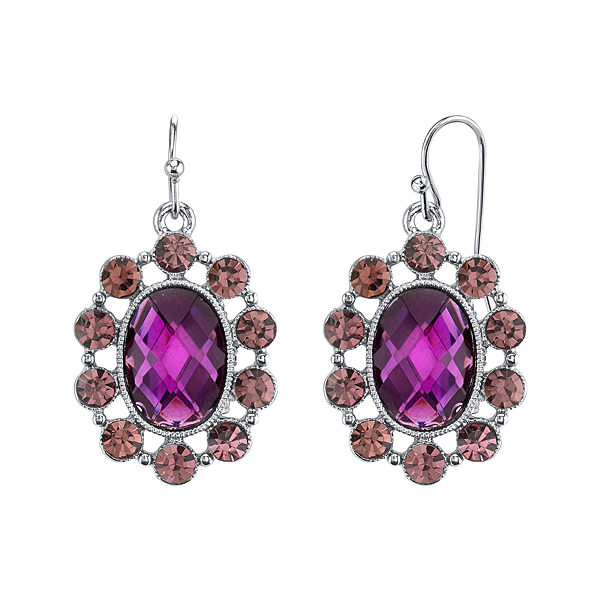 Radiant Orchid Silver-Tone Purple Oval Drop Earrings
