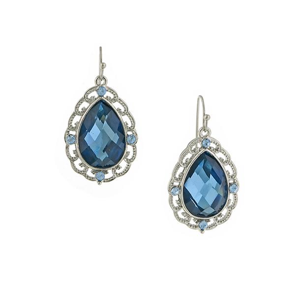 Blue Sapphire Lucite Teardrop Earrings