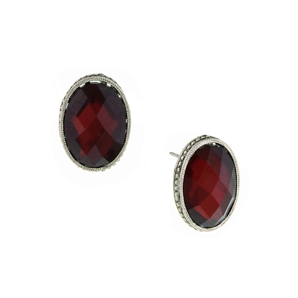 Radiant Red Oval Button Earrings