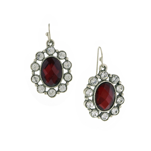 Bejeweled Red Siam Oval Drop Earrings