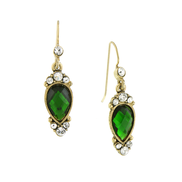 2028 Enjoli Emerald Green Jewel Drop Earrings