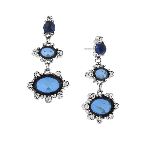 2028 Deschanel Silver-Tone Sapphire Blue and Crystal Drop Earrings