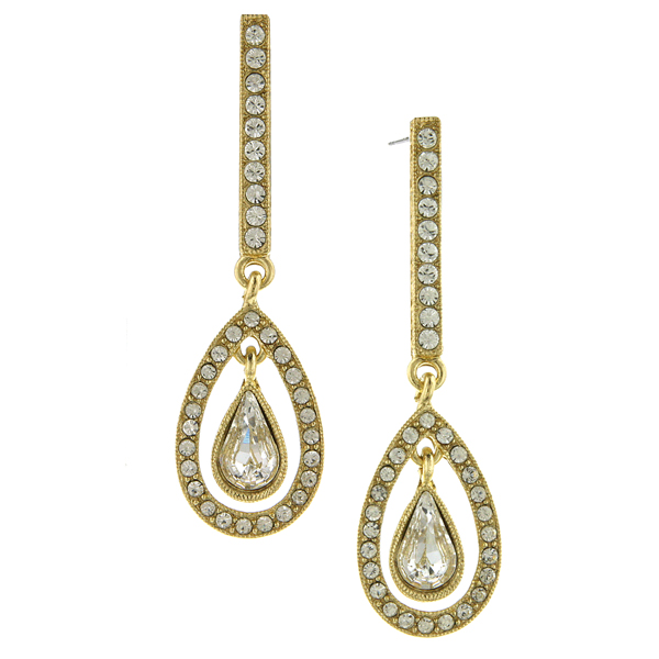 2028 Gold-Tone Crystal Enclosed Pear-Shaped Linear Earrings