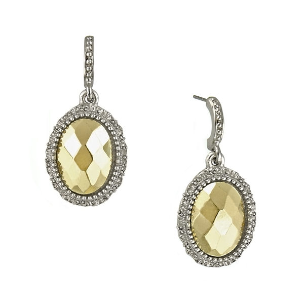 Two-Tone Oval Faceted Drop Earrings