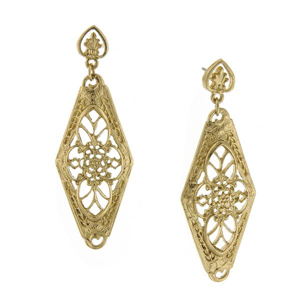 Signature Gold-Tone Filigree Lantern Drop Earrings