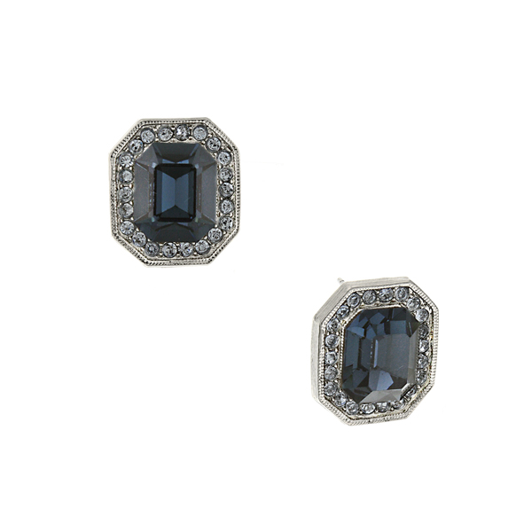Signature Silver-Tone Sapphire Blue Crystal Octagon Button Earrings
