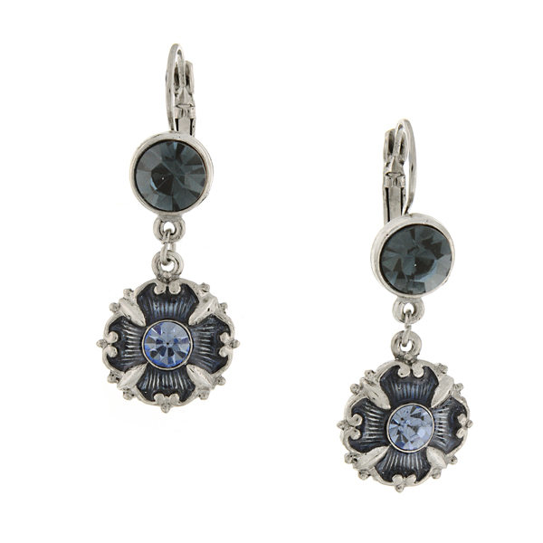 Signature Silver-Tone Sapphire Blue Enamel Drop Earrings