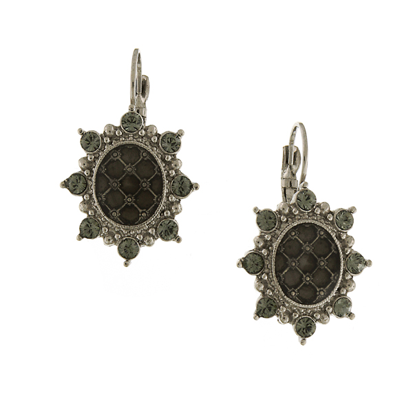 Signature Silver-Tone Black Diamond Crystal Starburst Drop Earrings