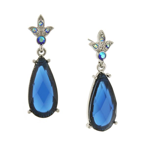 Silver-Tone Sapphire Blue Pear-Shaped Drop Earrings